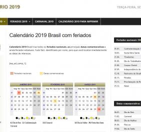 site de calendário